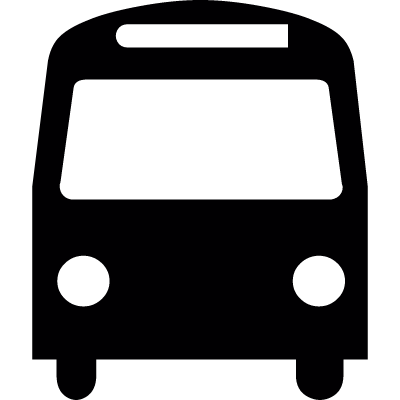 Frontal bus silhouette vector logo