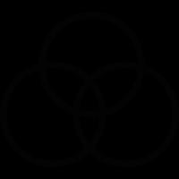 Three circles overlapping vector