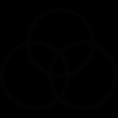 Three circles overlapping vector logo