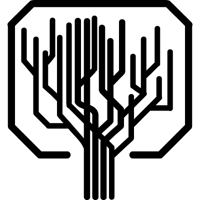 Tree shape of straight lines like a computer printed circuit vector logo