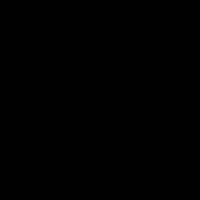 Arrow down inside a square, IOS 7 interface symbol vector logo