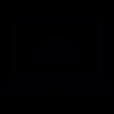 Cloud storage in laptop computer vector logo