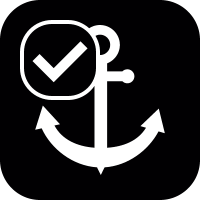 Ship anchor with check mark vector