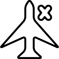 Mobile phone mode sign of an airplane with a cross vector