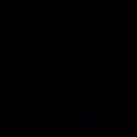 Dollar symbol on a circular pennant with ribbon vector