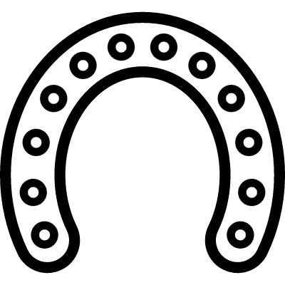 Horseshoe outline with circular holes along all its extension vector logo