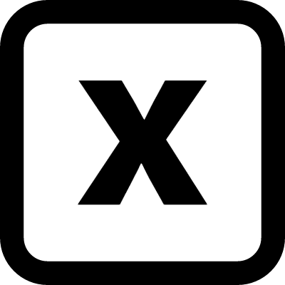 Close square rounded interface symbol with a cross vector logo