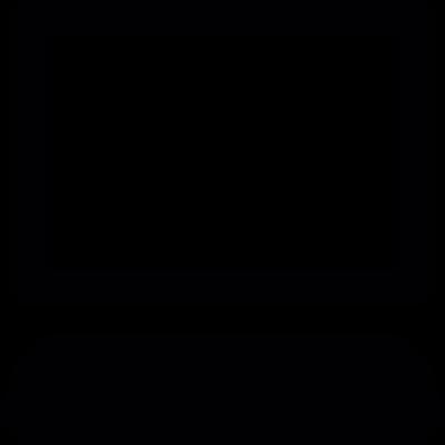 Monitor and keyboard shapes vector logo