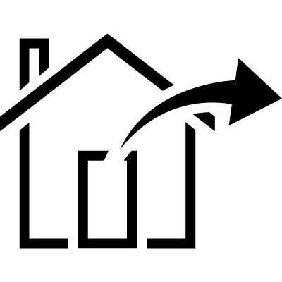 Logout house symbol with arrow pointing out to right vector logo