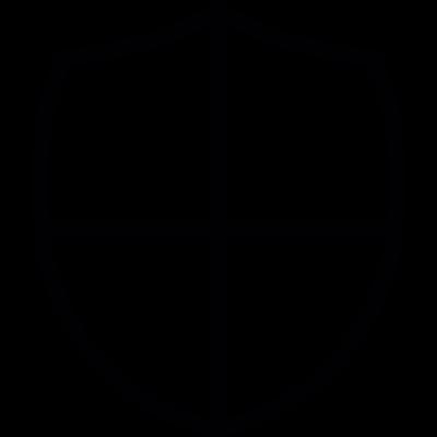 Shield little shape with a cross vector logo