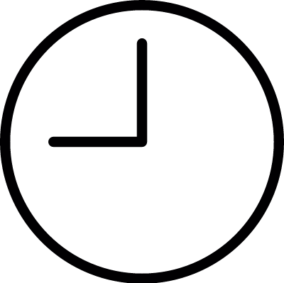 Round clock at nine oclock outline vector logo