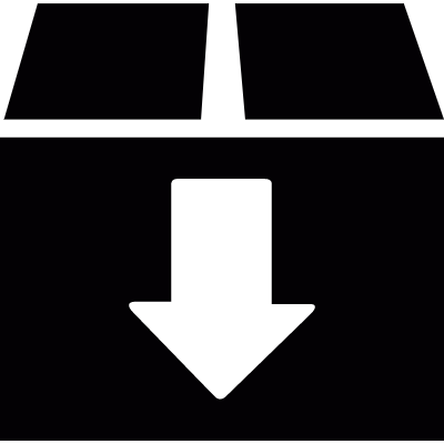 Cardboard box with down arrow vector logo