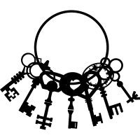 Keys hanging of a circle in a group of seven vector
