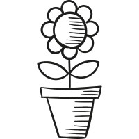Pot with Flower vector