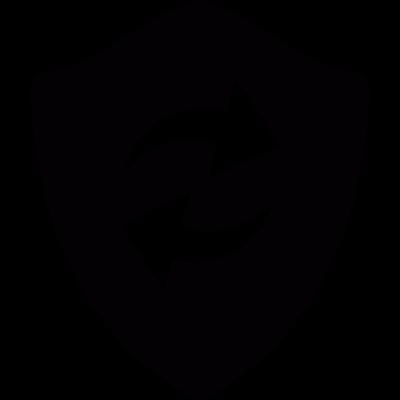 Refresh arrows in a shield vector logo