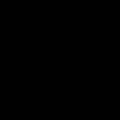 Writing on an open book vector logo