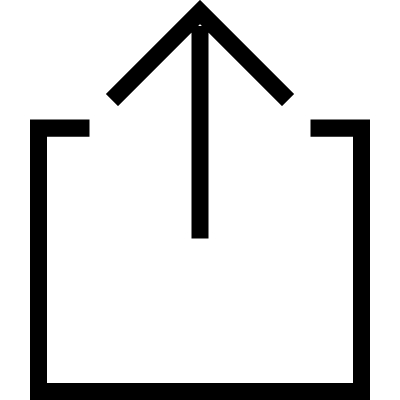 Square outline with uploading up arrow vector logo