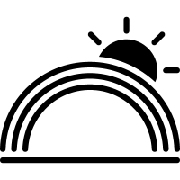 Rainbow weather symbol with the sun vector