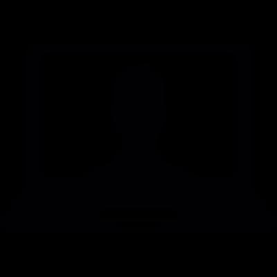 Laptop computer user vector logo