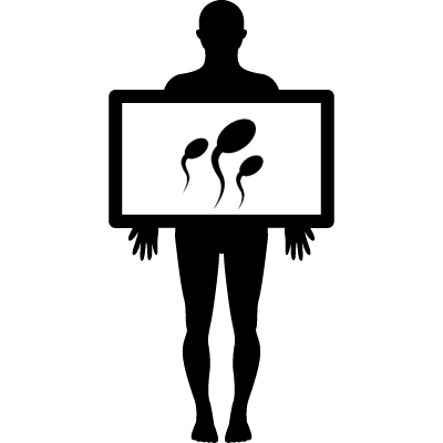 Male silhouette with plate showing sperms vector logo