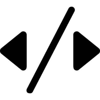 Two arrows triangles pointing to sides with a slash line in the middle vector logo