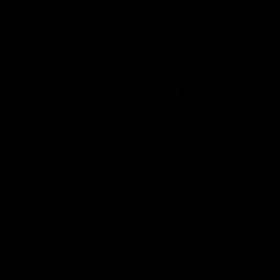15 minute mark on clock vector logo