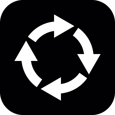 Cycle represented by four arrows circle in a rounded square vector logo