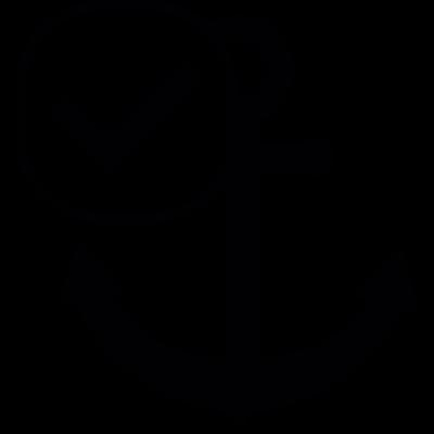 Ship anchor symbol with check mark vector logo