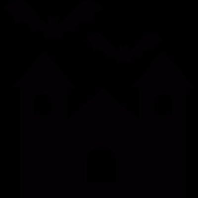 Halloween spellbound creepy mansion with bats vector logo