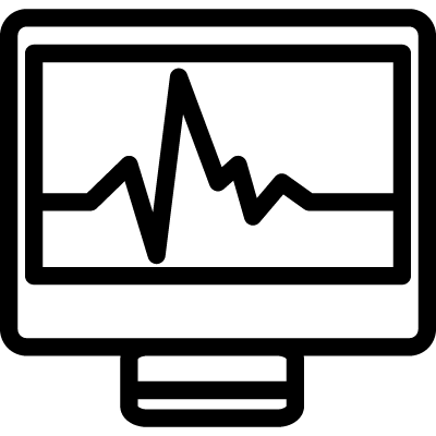 Computer graphic on a monitor outline symbol in a circle for interface vector logo