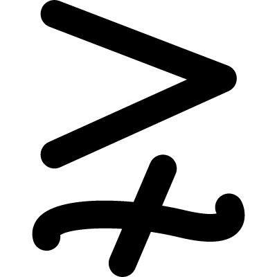 Greater but not equivalent vector logo