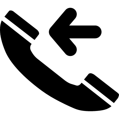 Incoming call interface symbol with telephone auricular and left arrow pointing to it vector logo