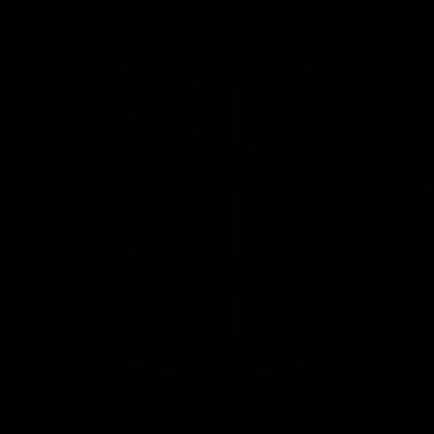 Dollar symbol in black oval vector logo