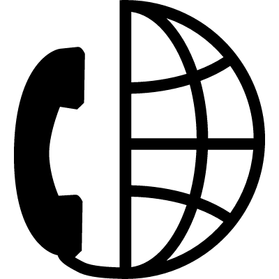 International call symbol for interface of half Earth grid with a phone auricular vector logo
