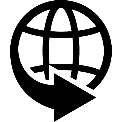 International delivery business symbol of world grid with an arrow around vector logo