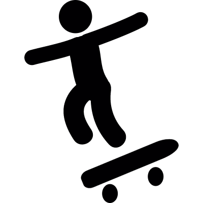 Boy with skatingboard vector logo