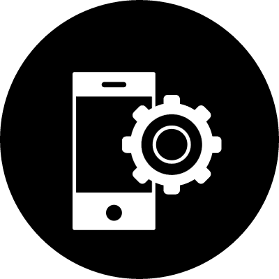 Cellphone variant with cogwheel symbol in a circle vector logo