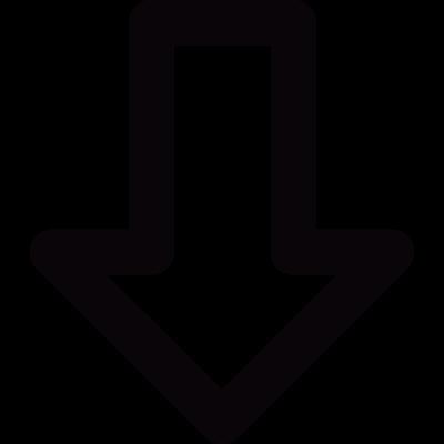 Down outlined arrow vector logo