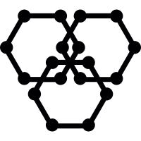 Three hexagons with dot corners vector