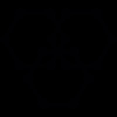 Three hexagons with dot corners vector logo