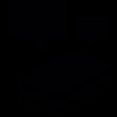 Speech bubbles on top of books vector logo