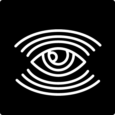 Surveillance eye symbol with many lines in a square shape vector logo