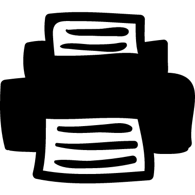 Printer hand drawn tool vector logo