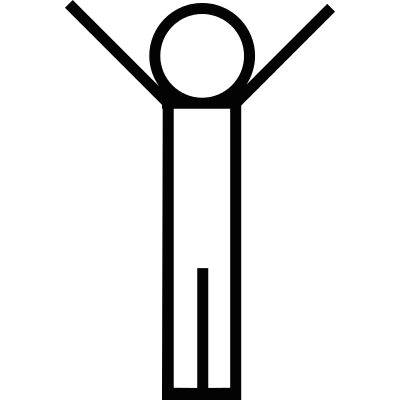 Person standing with arms up vector logo