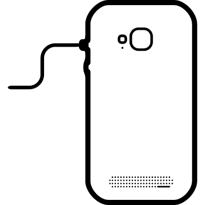 Mobile phone back connected to line with a cord vector logo