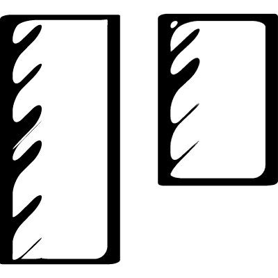 Sketched social symbol of two vertical rectangles of different size vector logo
