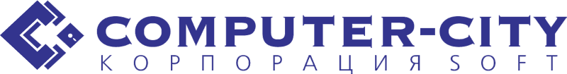 Computer city logo vector