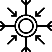Round winter flake with arrow pointing to the center vector