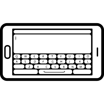 Mobile phone in horizontal position with keyboard view on screen vector logo