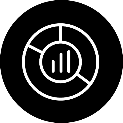 Pie circular graphic with bars in the center part thin symbol outline inside a circle vector logo